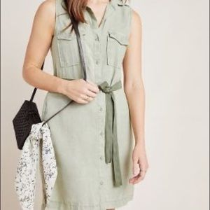 Cloth and stone green utility shirt dress